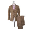 Light Brown White Windowpane Tweed