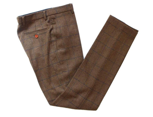 Brown With Blue Twill Tweed Trouser
