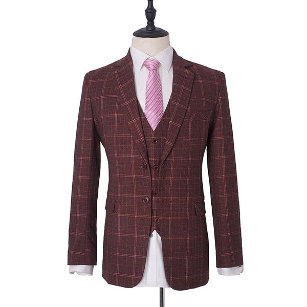 Maroon Brown Check Tweed Suit