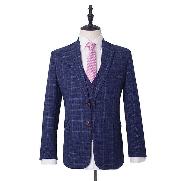 Dark Navy Tweed Windowpane Check Suit