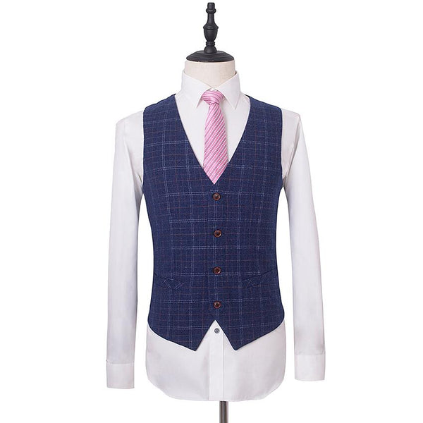 Navy Tweed Windowpane Check Waist Coat