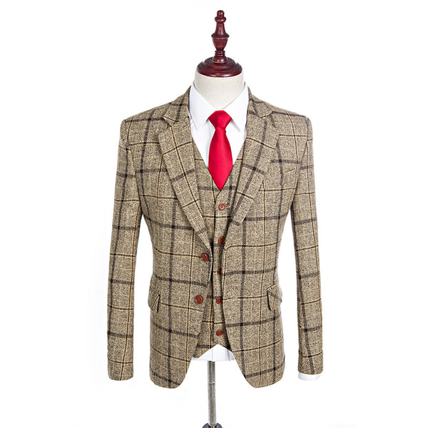 Brown Modern Check Suit