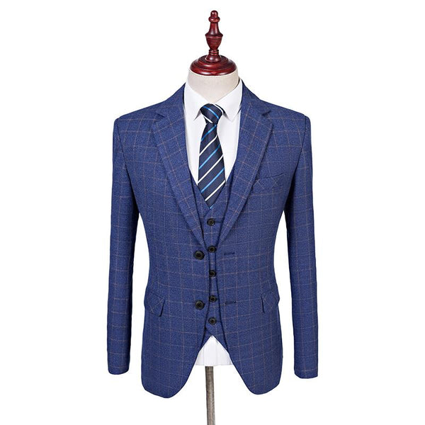 Blue With Yellow Windowpane Tweed 3 Piece Suit