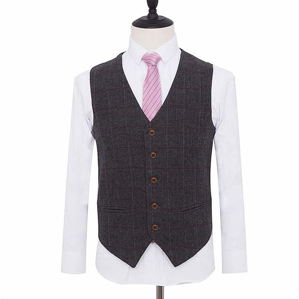 Dark Grey Herringbone With Red & White Windowpane Waistcoat