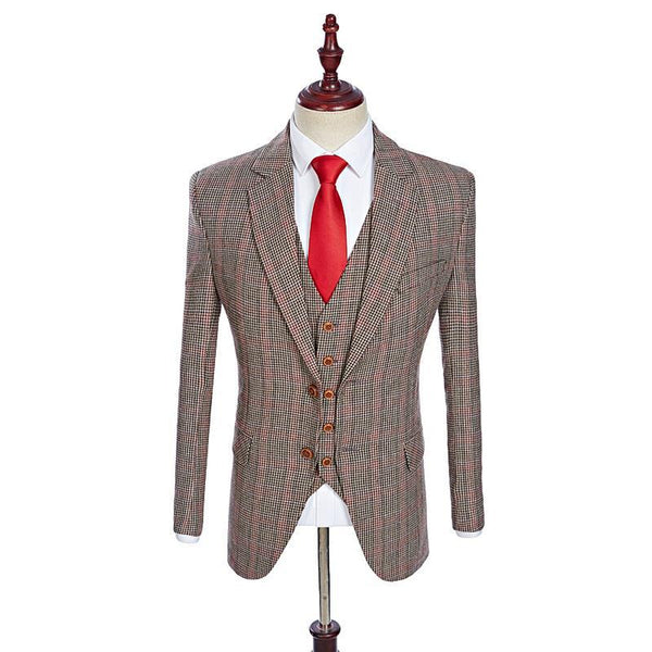 Black and Red Check Tweed Suit