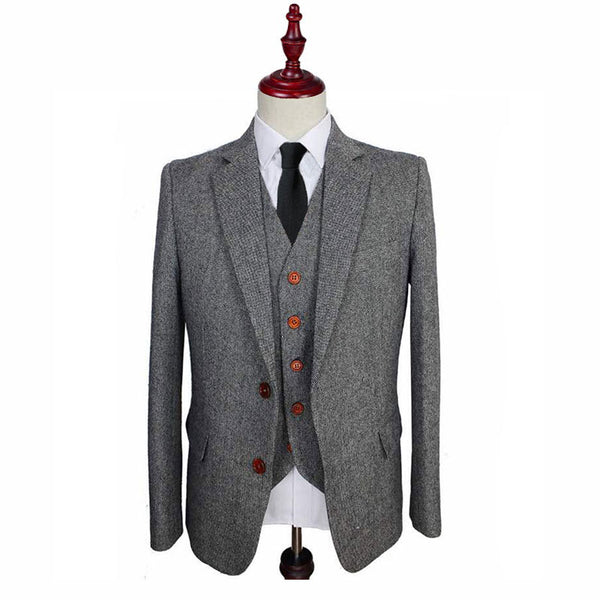 Grey Barleycorn Tweed 3 Piece Suit