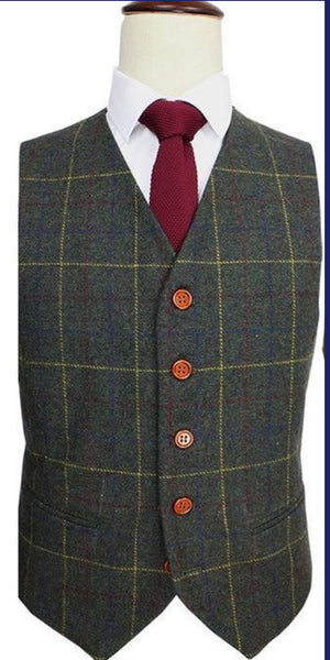 Green With Red Windowpane Waistcoat