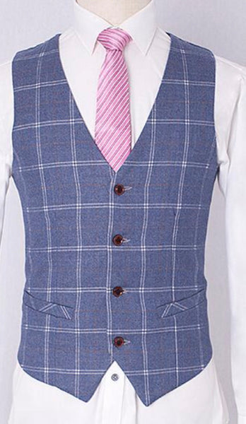 Kids Navy Tweed Windowpane Waist Coat & Trouser