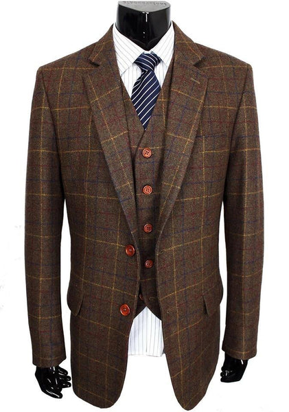 Brown Tweed With Blue & Yellow Check 3 Piece Suit