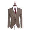 Kids Brown Barleycorn Tweed 3 Piece Suit