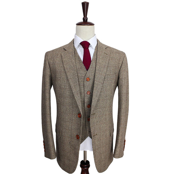 Brown Glen Check 3 Piece Tweed Suit
