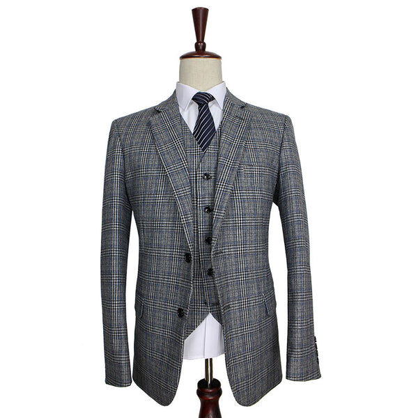 Grey Bold Blue Plaid Tweed 3 Piece Suit