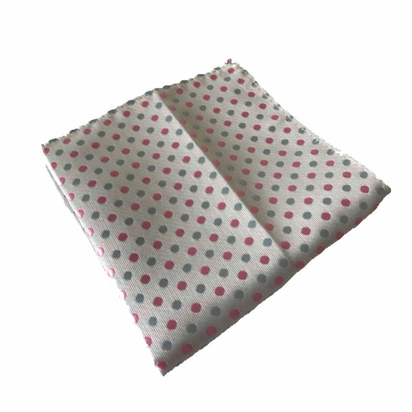 White with Pink Polka Dot Pocket Square