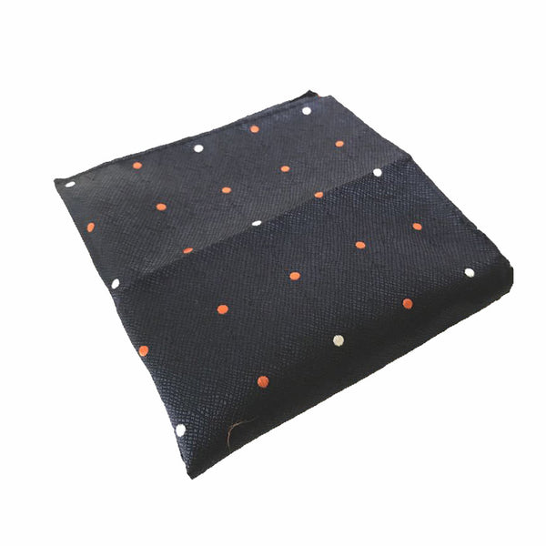 Black With Orange & White Polka Dots