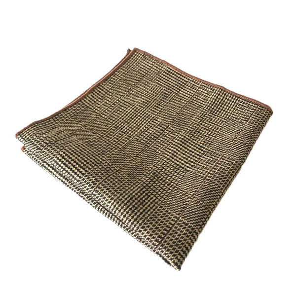 Brown Glen Check Pocket square