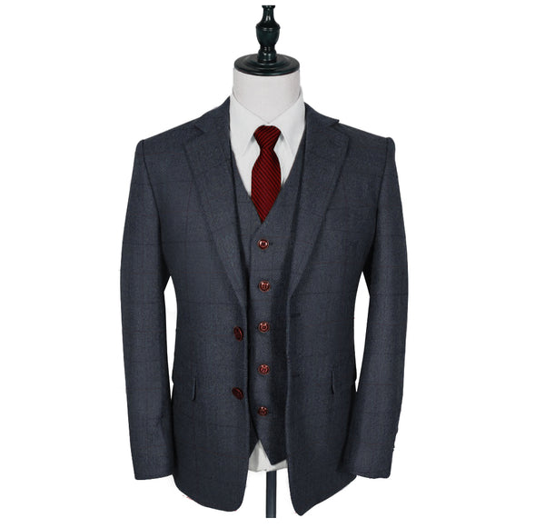 Traditional Grey Estate Herringbone Tweed 2 Piece Suit