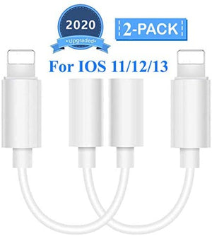 Lighting to 3.5 mm Headphone Adapter Earphone Earbuds Adapter Jack 2 Pack,Easy to Use,Compatible with Apple iPhone 11 Pro Max X/XS/Max/XR 7/8 Plus Plug and Play Cycling GPS Units