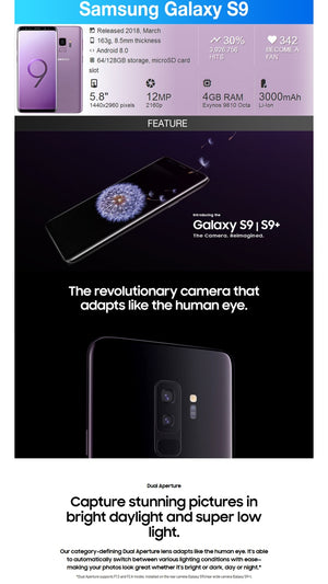 "Samsung Galaxy S9 Plus G965U Original Unlocked LTE Cell Phone Octa Core 6.2"" Dual 12MP 6GB RAM 64GB ROM NFC Snapdragon 845"