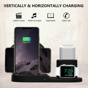Wireless Charger Stand for iPhone AirPods Apple Watch Series 4/3/2/1 iPhone X/8/XS