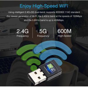 Free Driver USB Wifi Adapter 600Mbps Wifi Adapter 5 Ghz Antenna USB Ethernet PC Wi-Fi Adapter Lan Wifi Dongle AC Wifi Receiver