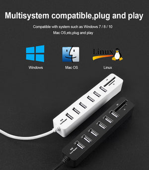 USB Hub 3.0 Multi USB 3.0 Hub USB Splitter High Speed 3 / 6 Ports TF SD Card Reader All In One