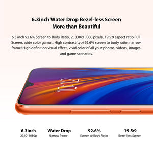 Global Version Lenovo Mobile Phone 4GB 64GB Smartphone Z5S 6.3 Inch 2340*1080 Rear Camera 16.0MP 8.0MP 5.0MP Octa Core Phones