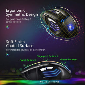 Ergonomic Wired Gaming Mouse 7 Button 5500 DPI LED USB X7 Silent With Backlight For PC Laptop