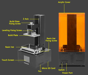 LONGER Orange10 3D Printer Affordable SLA 3D Printer Smart Support Fast Slicing UV Light Curing Easy Operate Entry Level