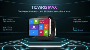 "Ticwris Max 4G Android Watch 2.86"" Big Display Face ID 2880Mah 3GB 32GB 8MP Camera GPS Men Smart Watch For IOS Android"