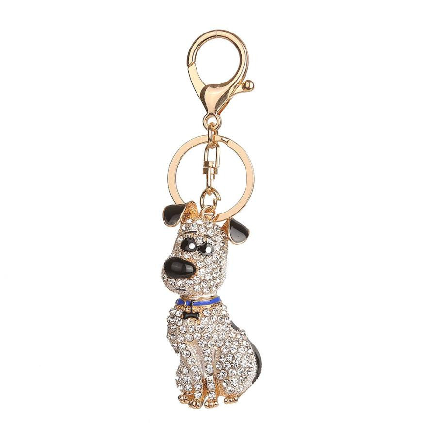 Dog Rhinestone Car Key Ring