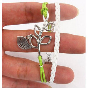 Handmade Adjustable Leaf  and Bird Leather Bracelet