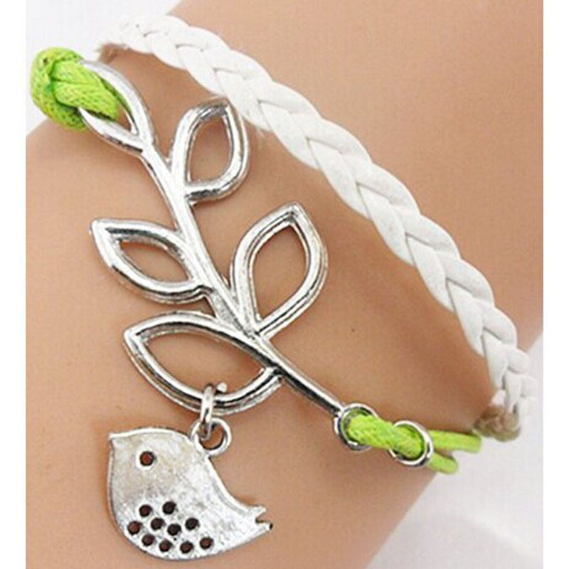Handmade Adjustable Leaf Bird Multi-layer Leather Bracelet Wristband