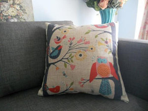 Birds on Tree Pillow Case Cushion Cover