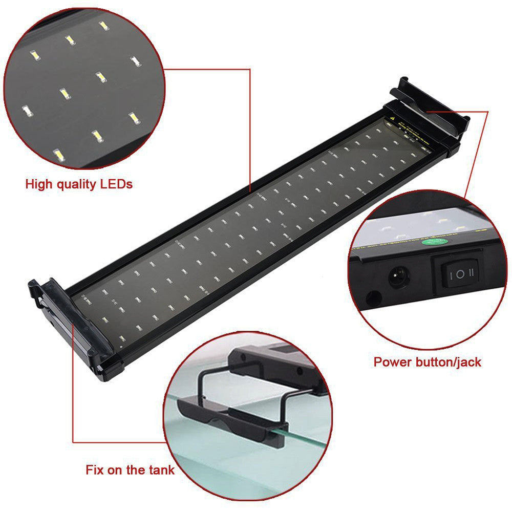 LemonBest Aquarium Fish Tank SMD LED Light Lamp 11W 2 Mode 50cm 60 White + 12 Blue Decorative Lamp For Fish Lighting