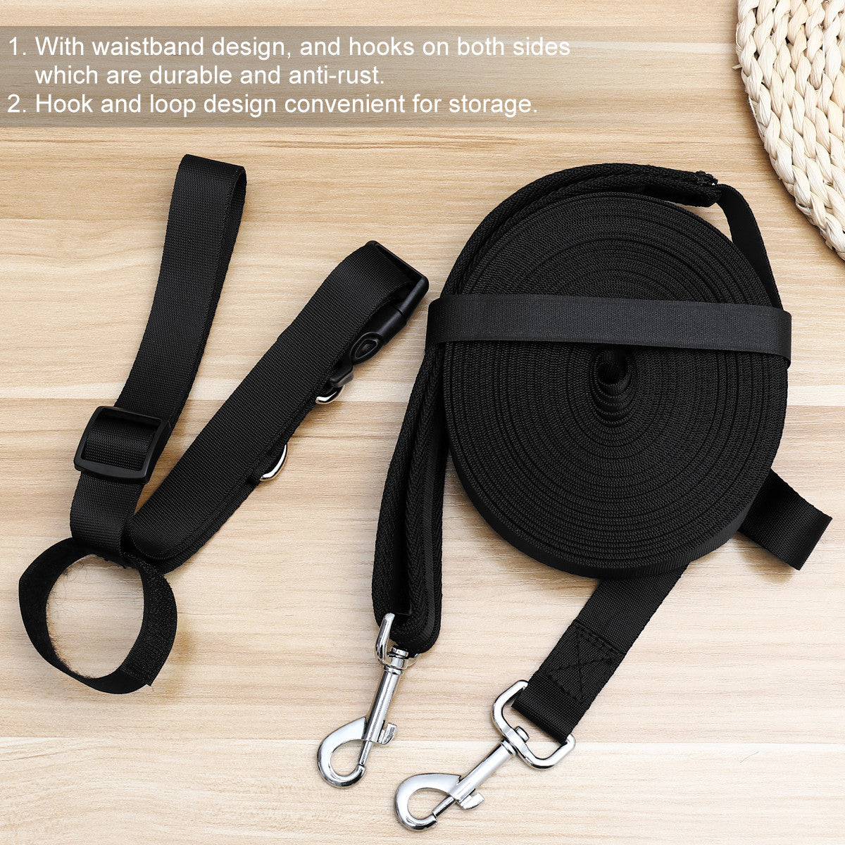 Dog Puppy Training Obedience Lead Long Leash With Waist Belt And Organizer Bag