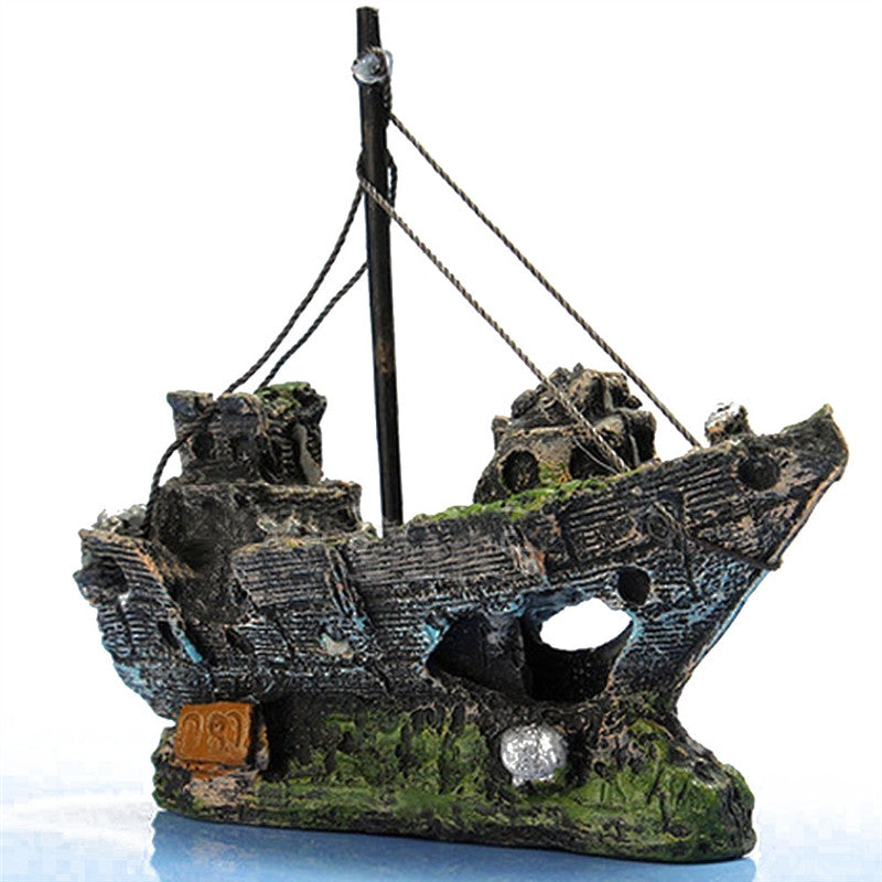 Fish Tank / Aquarium Fishing Boat Decoration