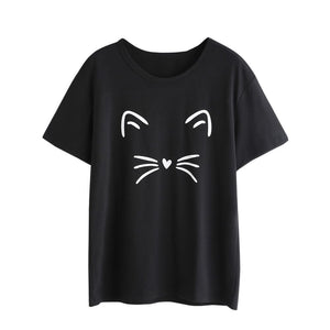 Women Fashion Casual Short Sleeve Cat T-Shirt