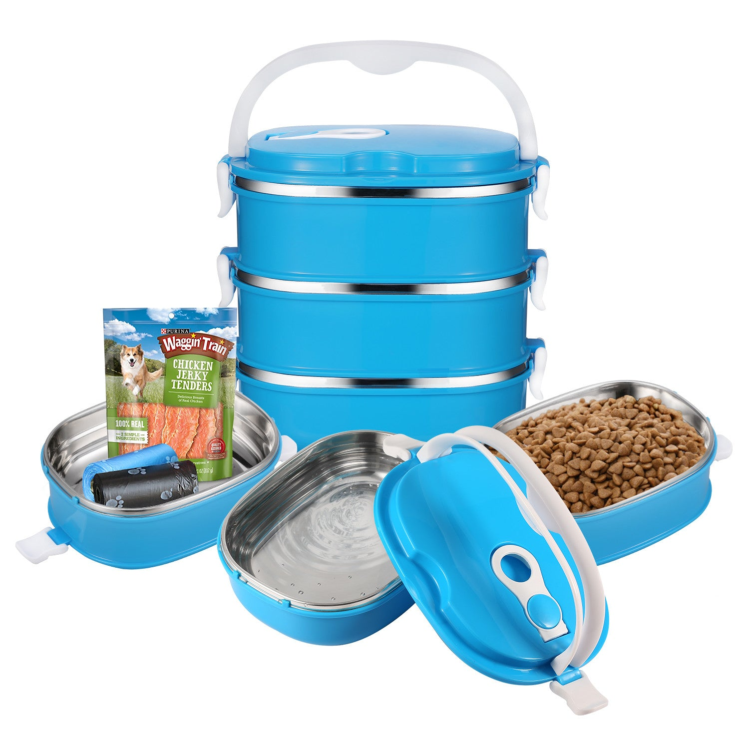 3-Tier Portable Travel Feeding Bowl for Pets (dogs and cats)