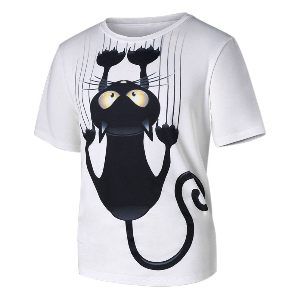Men Women Cat Pattern Print Short-Sleeved T-Shirt Top