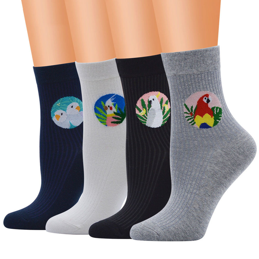 Women Cute Cotton Medium Bird Illustrations Pattern Lady Tube Socks