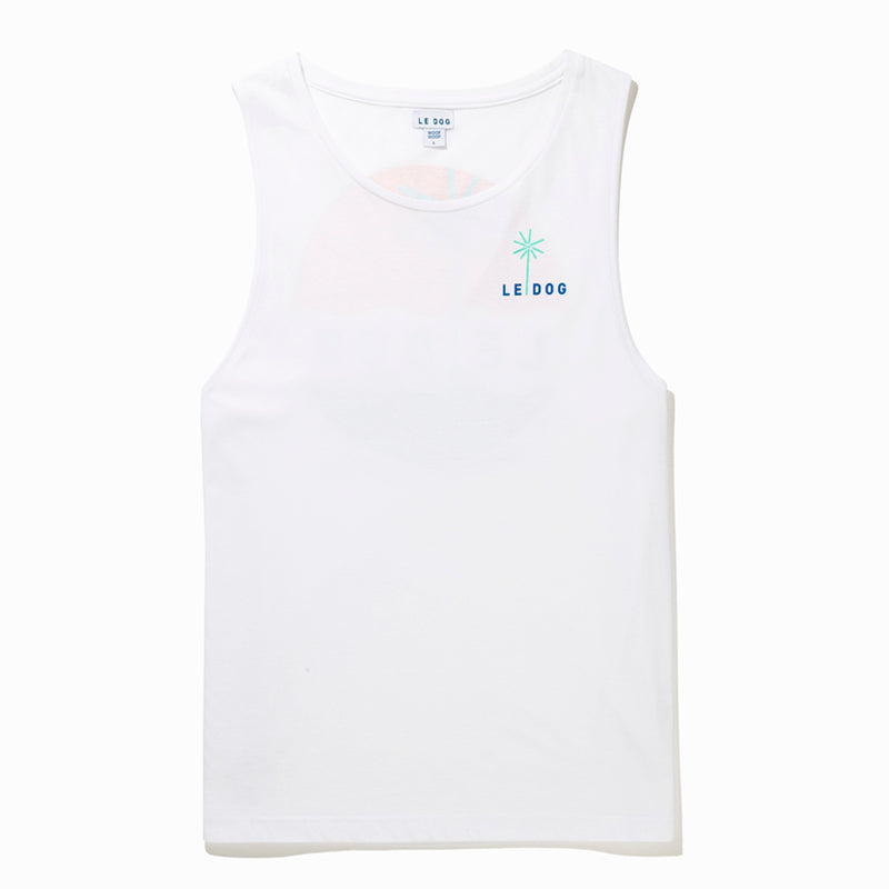 Le White Palm Muscle Tee