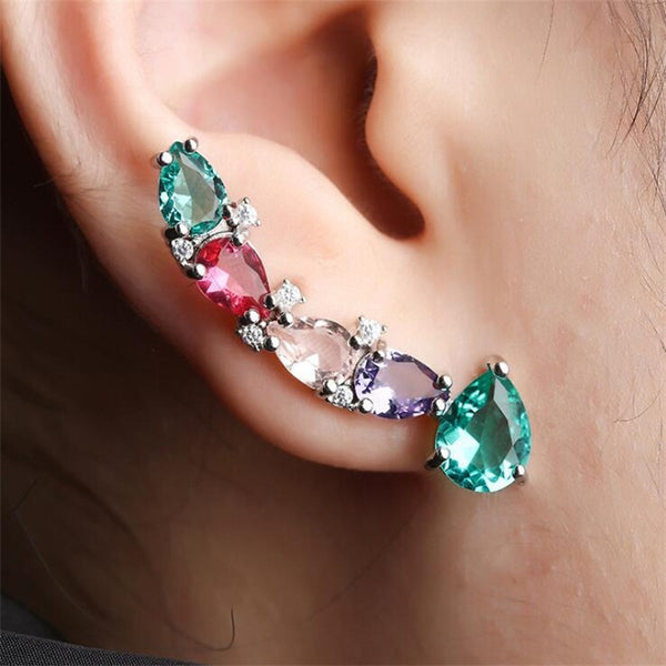 Colourful Cubic Zirconia Stud Earrings