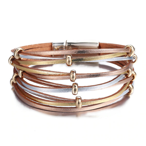 Gold Silver Color - Beads Leather Charm Bracelets