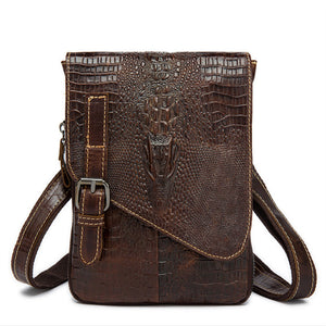 Crocodile men shoulder bag with genuine leather