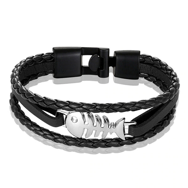 Fashion Jewelry Fish Leather Bracelet