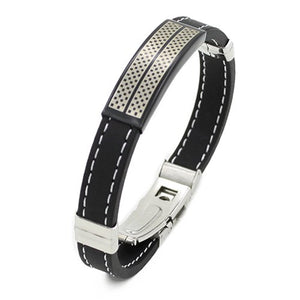 Bluelans - Trendy Black Silver Stainless Steel Wristband