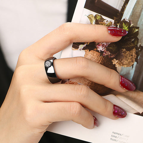 Rhinestone Ceramic Ring