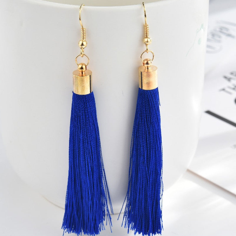 Black Crystal Flower Fringe Earings