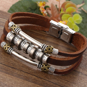 Punk Hand Braided Brown Leather Men's Bracelet