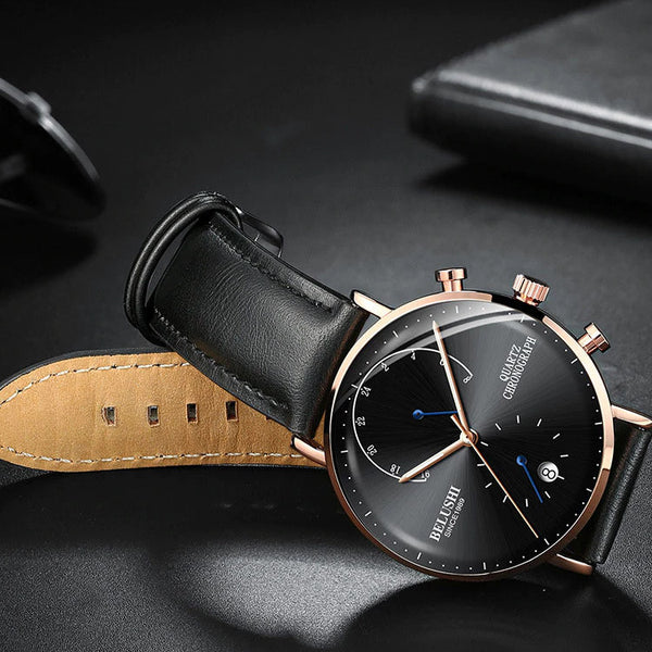 Leather Strap Slim Watch